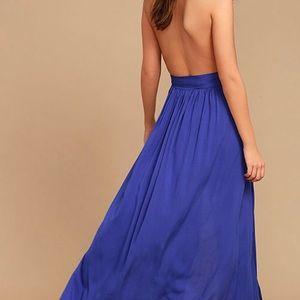 Lulus wrap plunge maxi dress, royal blue size Xs